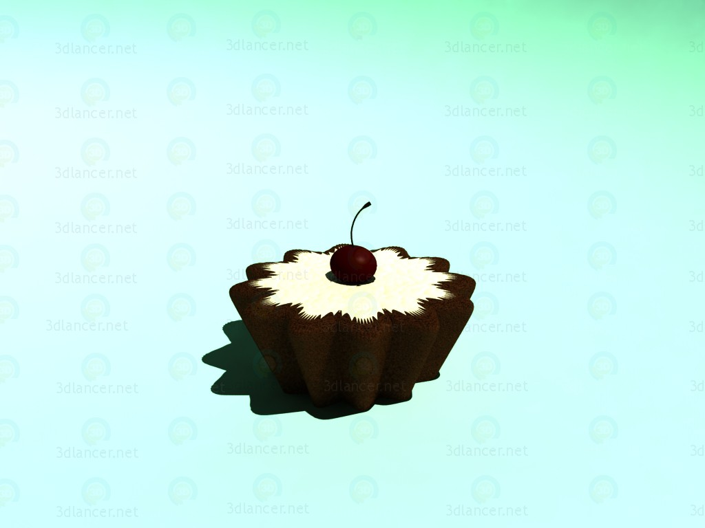 3d model Cupcake with cherry - preview