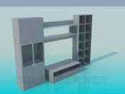 Wall unit with TV stand