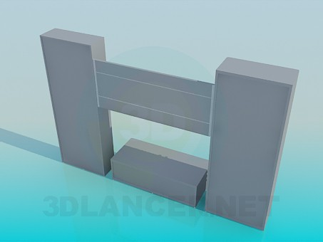 3d model Wall unit with TV stand - preview