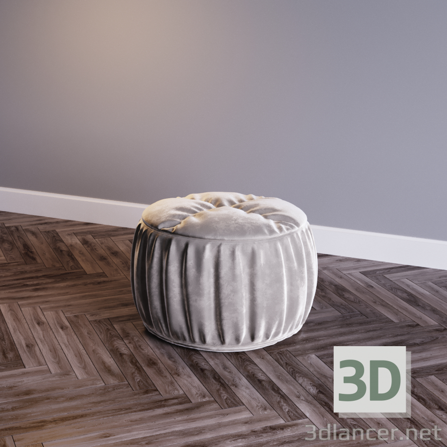 Велюровый пуф 3d модель купить - рендер