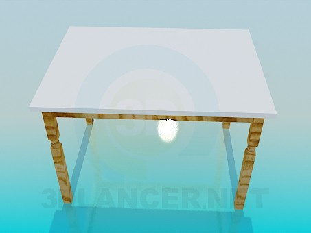 3d model Table with wooden legs - preview