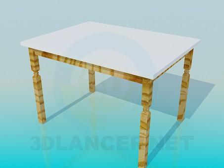3d модель Стіл на дерев'яних ніжках – превью