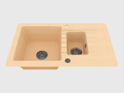 Sink, 1,5 bowls with a wing for drying - sand Zorba (ZQZ 7513)