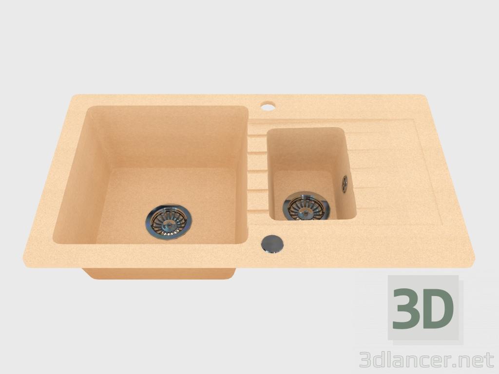 3d модель Мойка, 1,5 чаши с крылом для сушки - песочный Zorba (ZQZ 7513) – превью
