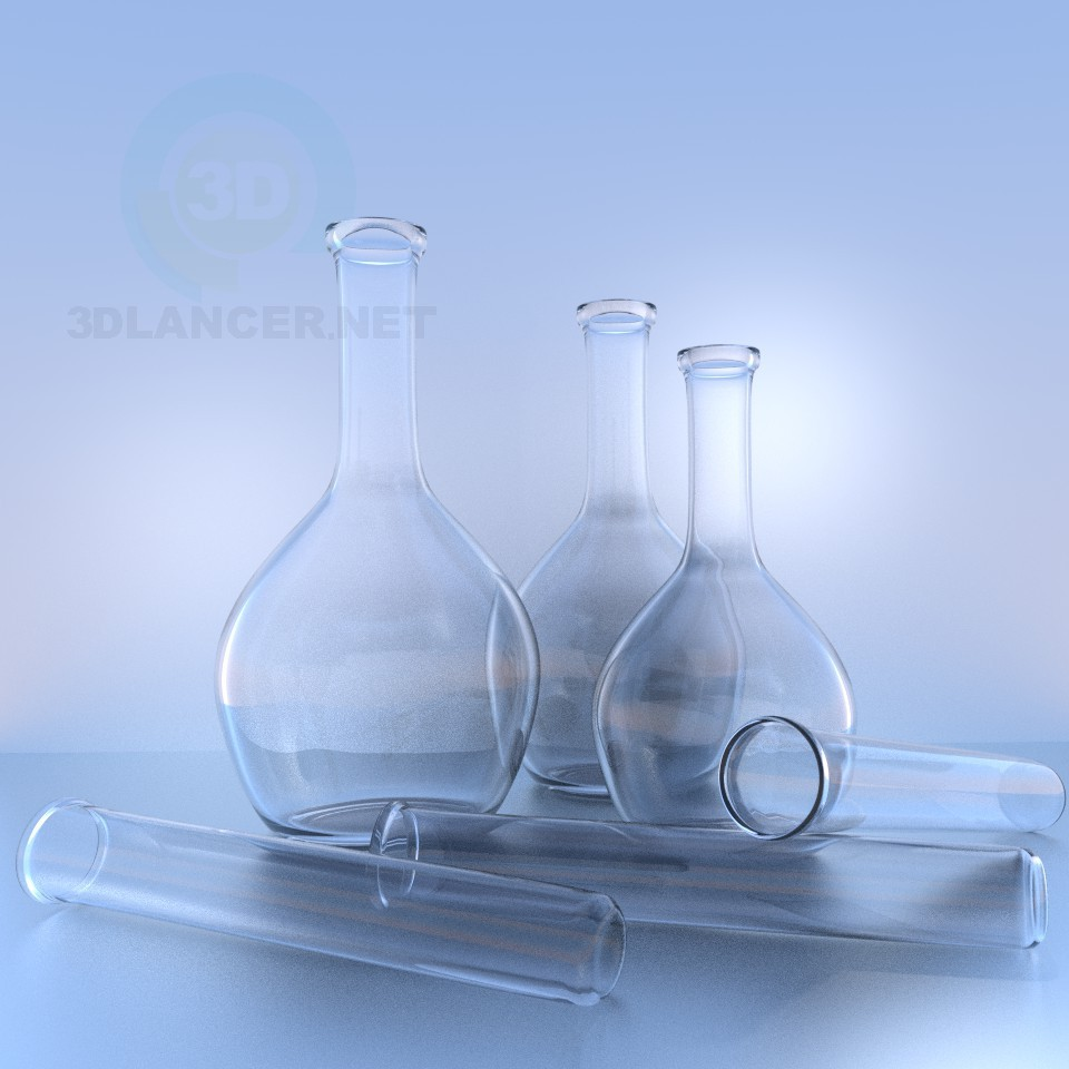 3d model Flasks and test tubes - preview