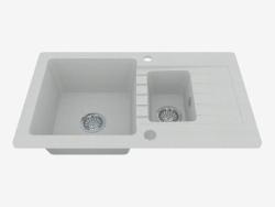Fregadero, 1,5 cuencos con un ala para secar - Zorba de metal gris (ZQZ S513)