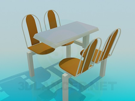 3d model A table in the cafe - preview