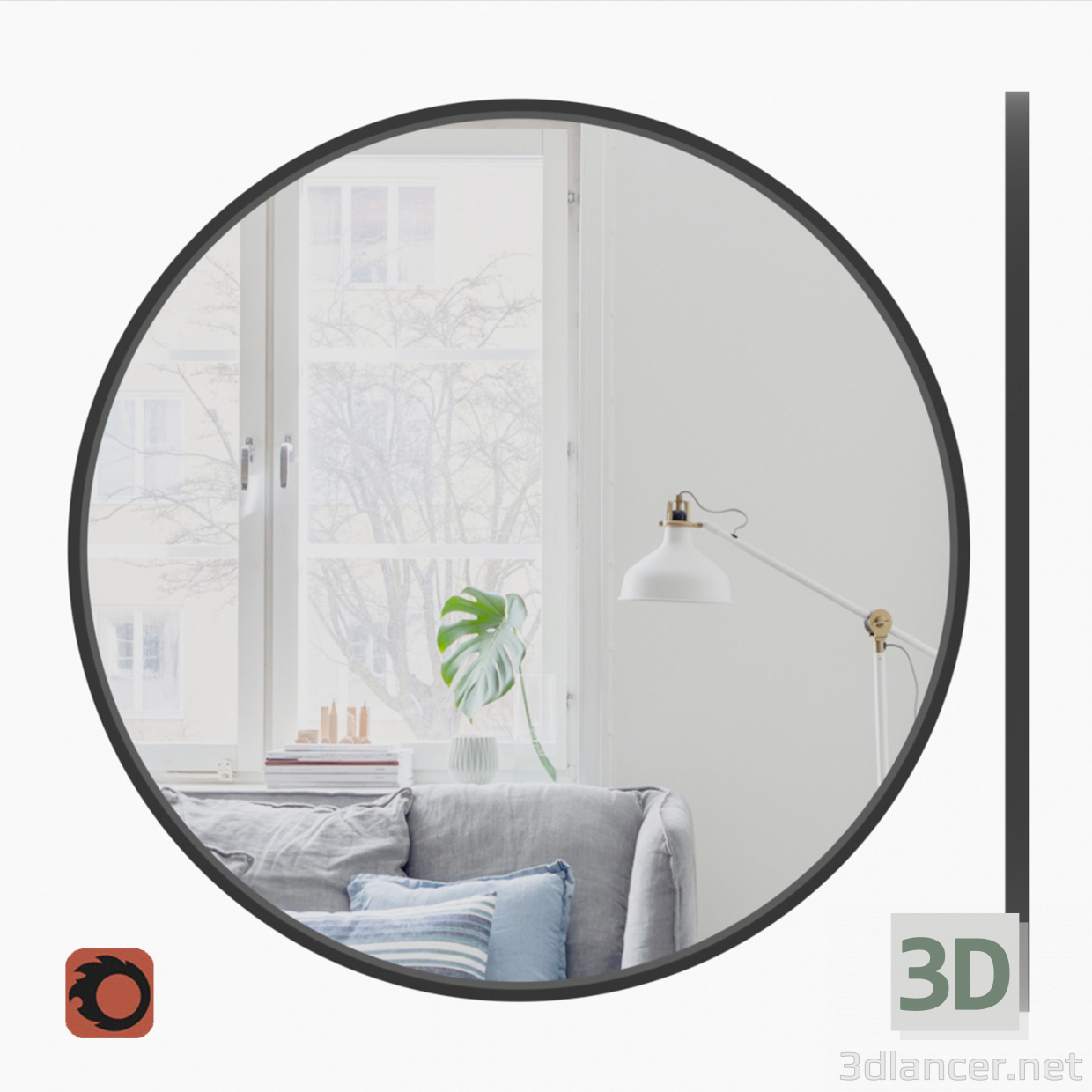 3d model Painted MDF frame mirror - preview