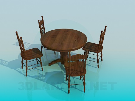 3d modeling Wooden tables and chairs in the set model free download