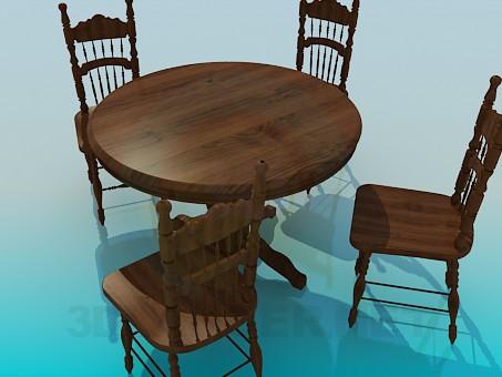 modelo 3D Madera mesas y sillas en el conjunto de - escuchar