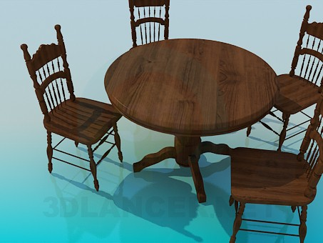 3d model Wooden tables and chairs in the set - preview