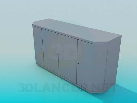 3d model Bedside table with 4 doors - preview