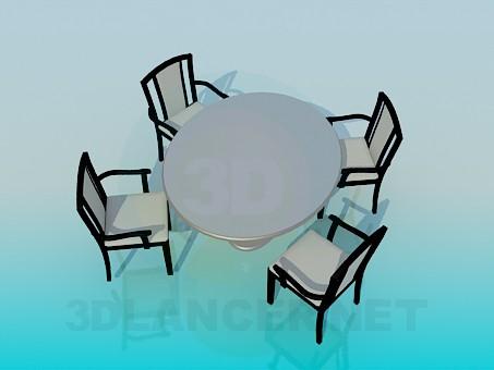 3d модель Стіл зі стільцями – превью
