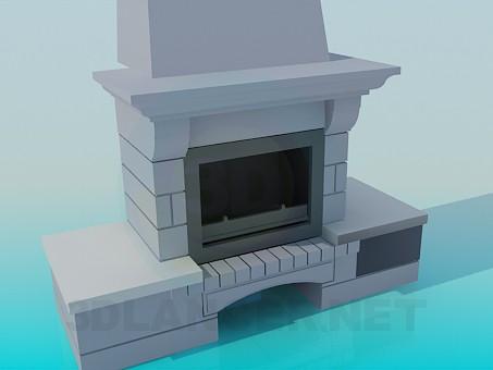 modèle 3D Cheminée avec la place du bois de chauffage - preview