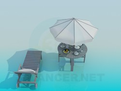Şezlong ve plaj tablo