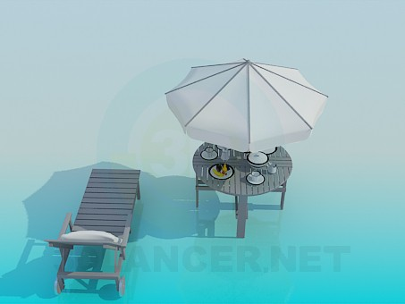 3d modeling Deck chair and beach table model free download