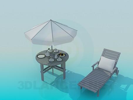 3d модель Тапчан и пляжный столик – превью