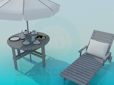3d model Deck chair and beach table - preview