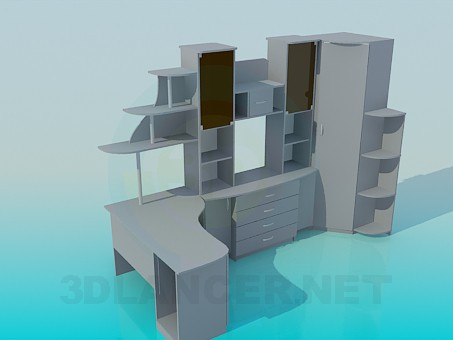 3d model The furniture in the study - preview