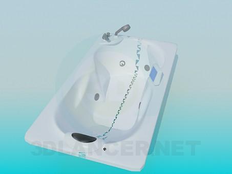 modelo 3D Baño con reposacabezas - escuchar