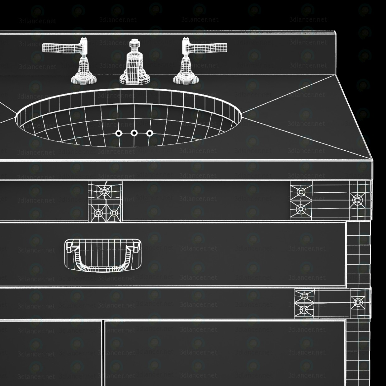 3d  HEIRLOOM SILVER Double washbasin Restoration Hardware  model buy - render