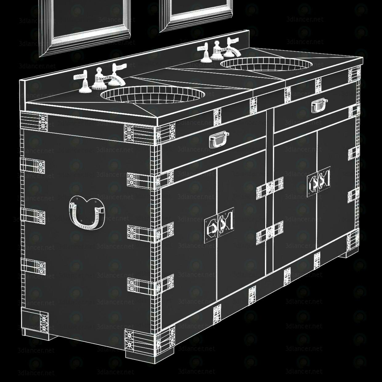 3d HEIRLOOM SILVER Double washbasin Restoration Hardware model buy - render