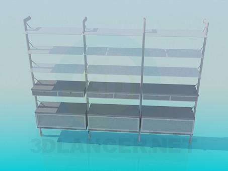 3d модель Широкая этажерка на 3 секции – превью