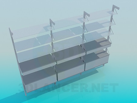 3d model Wide shelves in 3 sections - preview