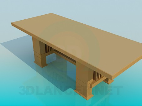 3d модель Великий дерев'яний стіл – превью