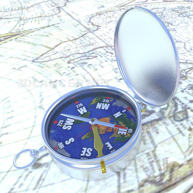 3d model compass - preview