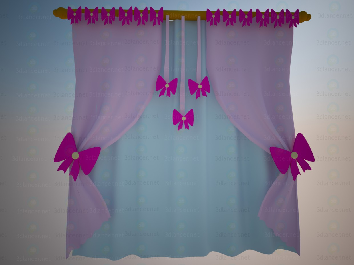 3d model Curtains bows - preview