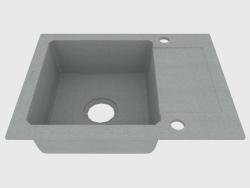 Lavabo, 1 recipiente con escurridor - Zorba metálico gris (ZQZ S11A)