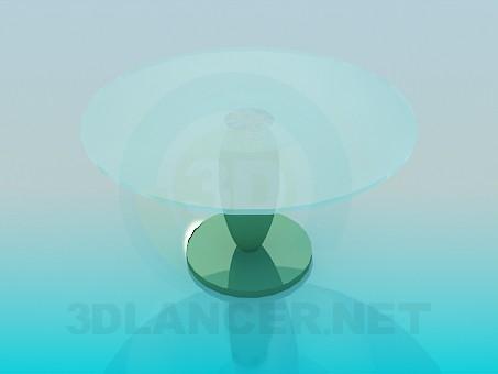 modelo 3D Mesa con superficie de cristal redondo - escuchar