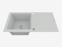 Sink, 1 bowl with draining board - gray metallic Zorba (ZQZ S113)