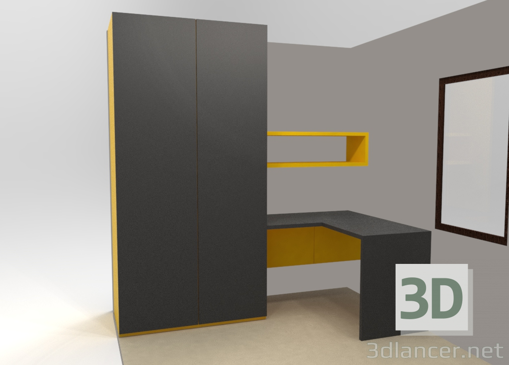 3d model Wardrobe + table - preview