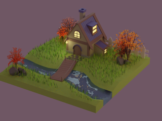 Maison d'automne low poly