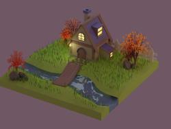 Casa de outono low poly