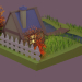 3d Autumn house low poly model buy - render