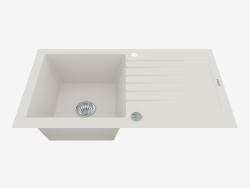 Fregadero, 1 recipiente con un ala para secar - alabastro Zorba (ZQZ A113)