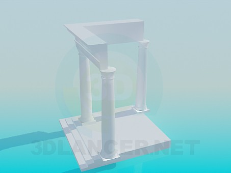 3d model Porch with columns - preview