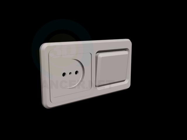3d model outlet switches - preview