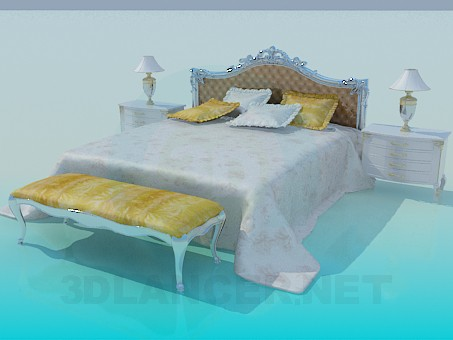 3d model Bed with thumbs and couch - preview