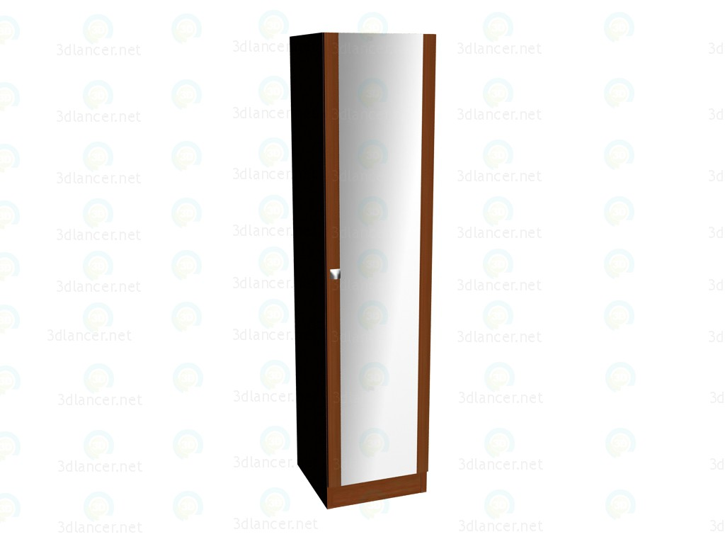 3d model 1-door wardrobe with mirror - preview