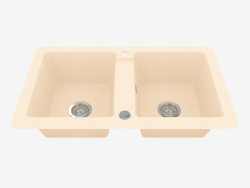 Sink, 2 bowls without wing for drying - sand Zorba (ZQZ 7203)
