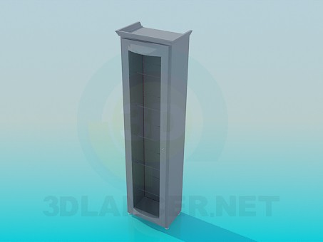 3d model Narrow cabinet with glass doors - preview