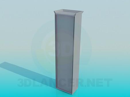 3d модель Вузький шафа зі скляними дверцятами – превью
