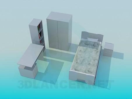 modelo 3D Muebles de dormitorio de niño - escuchar