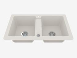 Fregadero, 2 tazones sin ala para secar - alabastro Zorba (ZQZ A203)
