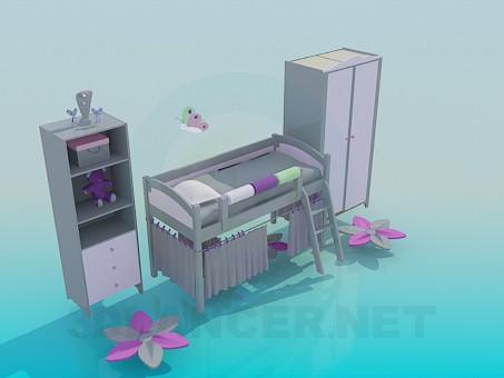 3d модель Меблі в кімнату для дівчинки – превью