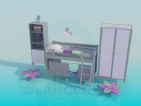 3d model The furniture in the bedroom for girl - preview